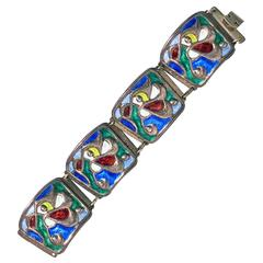 Oystein Balle Norway Sterling Vermeil Enamel Abstract Bracelet