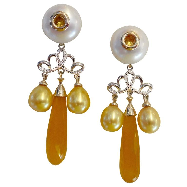 Michael Kneebone Golden Chalcedony Yellow Sapphire Pearl Diamond Dangle Earrings