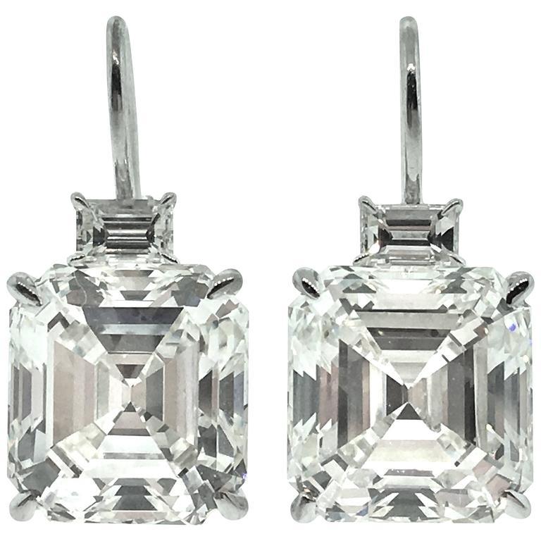 10 97 Ct Square Emerald Cut Diamond Drop Earrings For