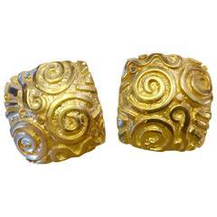 Michael Kneebone Petroglyph 18 Karat Yellow Gold Button Earrings