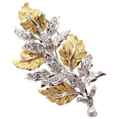 Buccellati Diamond Leaf Yellow And White Gold Brooch Pin