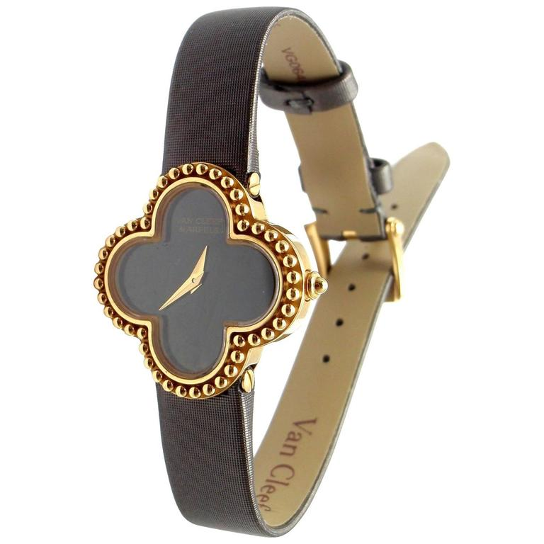 Van Cleef & Arpels Black Dial Vintage Alhambra Yellow Gold Ladies Watch 1