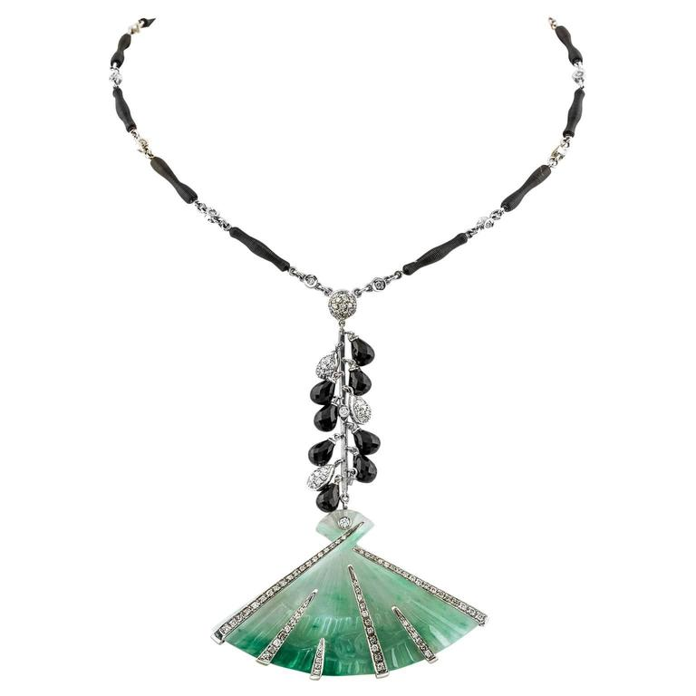 Carved Jadeite Diamond and Black Sapphire Gold Necklace For Sale