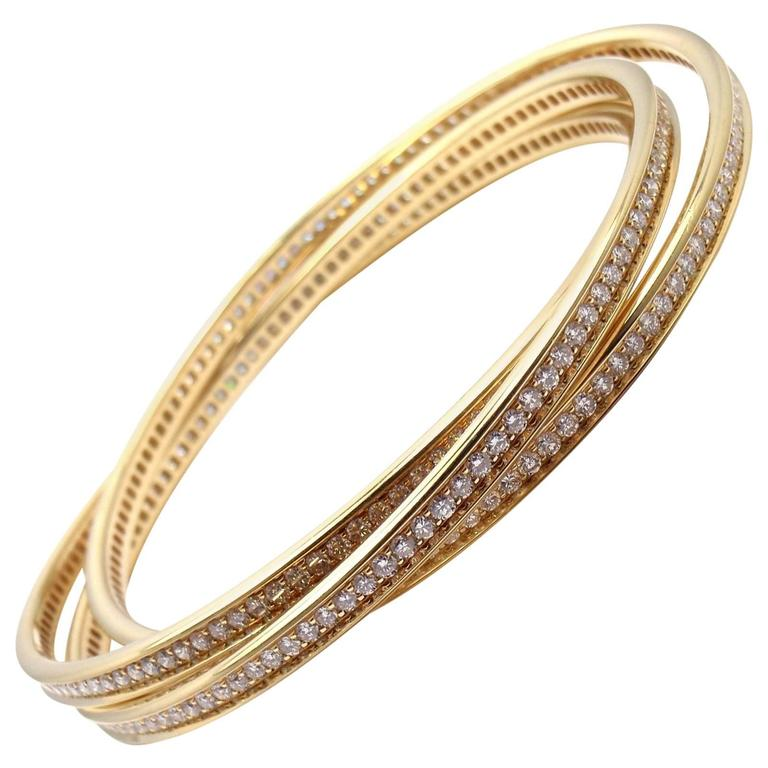 Cartier Trinity Diamond Gold Bangle Bracelet For Sale