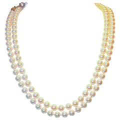 Fine double strand of pearls.
