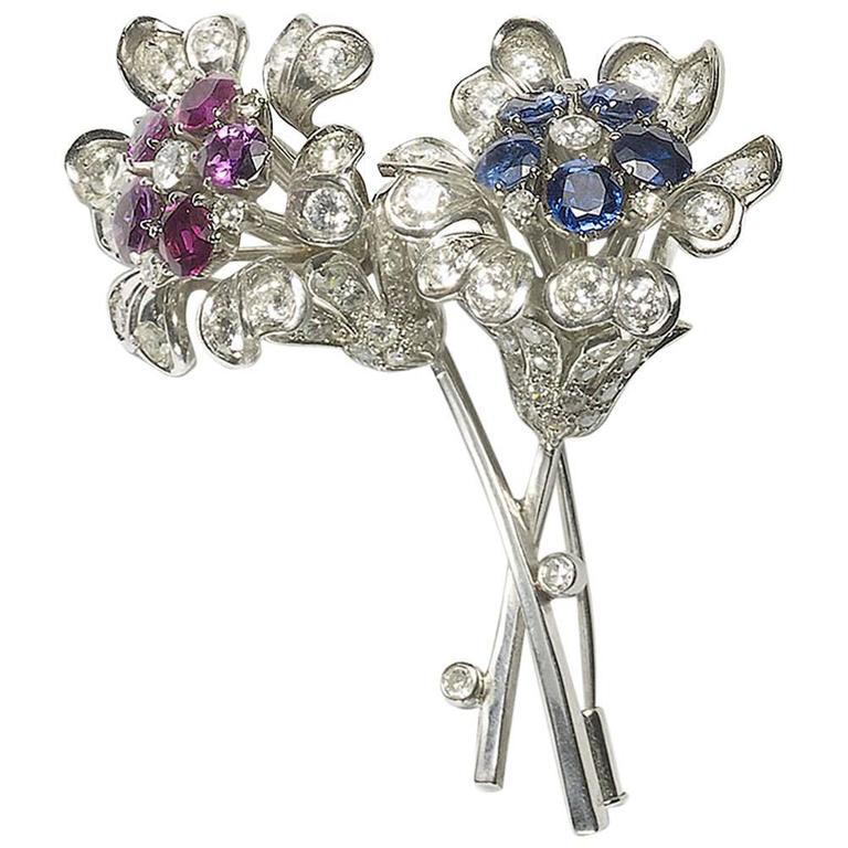 Sapphire Diamond & Ruby Flower Brooch