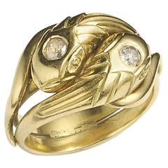 Antique French Crossover Snake Ring with Diamond Heads in 18ct gold