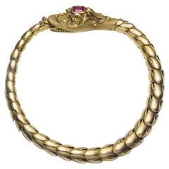 Victrorian Snake Gold Bracelet