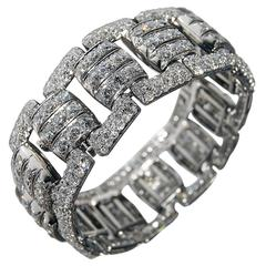 French Art Deco Diamond Panel Bracelet