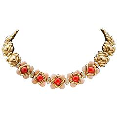 1970s Van Cleef& Arpels Coral Diamond Yellow Gold Necklace.