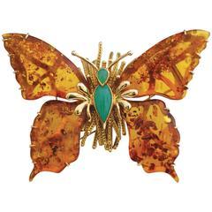 "18K Gold ""Isadora"" Brooch, Butterfly Shaped. Amber Wings, Chrysoprase. MARCHAK"