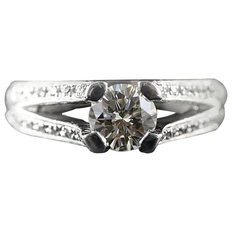 Modern Split Shank Diamond Engagement Ring