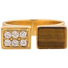 1950s Cartier Retro Tiger Eye Diamond Gold Open Horseshoe Ring