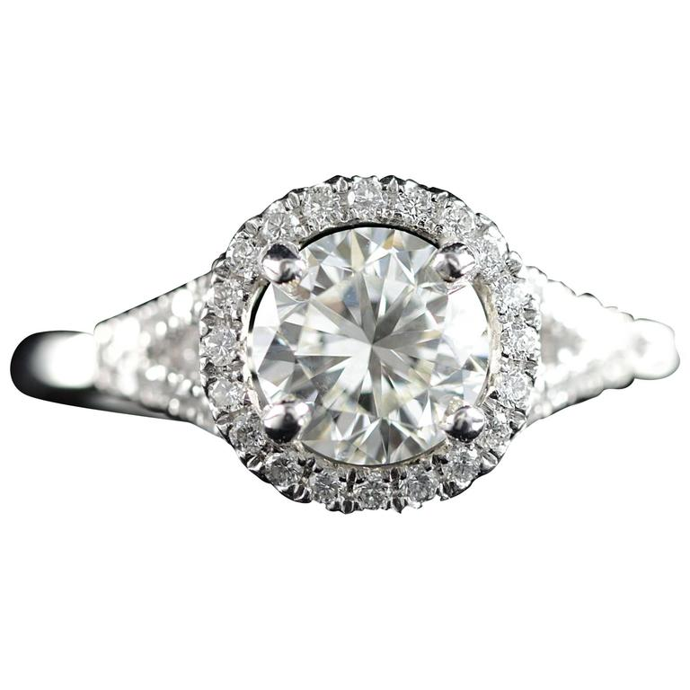 Diamond Platinum Halo Engagement Ring  For Sale