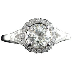 Diamond Platinum Halo Engagement Ring
