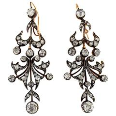 Victorian 6 Carat Diamond Chandelier Earrings, Silver Backed in Yellow Gold