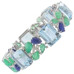 Aquamarine Carved Sapphire Emerald Bracelet