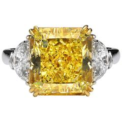 5.42 Carat GIA Certified Canary Diamond Three Stone Engagement Ring