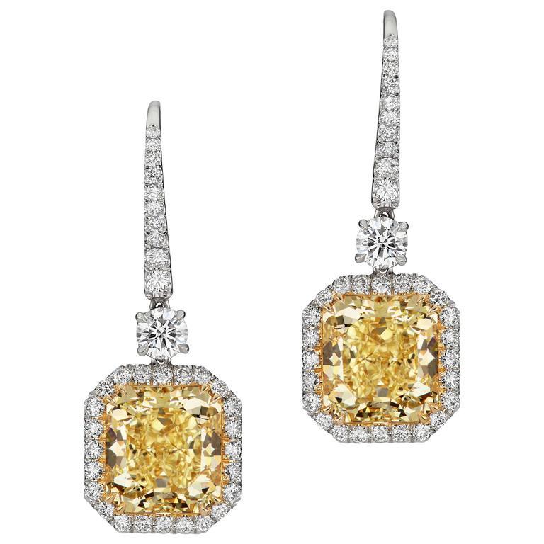 10.23 Carat Fancy Yellow Diamond Yellow Gold White Diamond Platinum Drop Earring For Sale