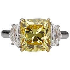 GIA Certified 5.26 Carat Vivid Yellow Canary Diamond Three-Stone Engagement  Rin