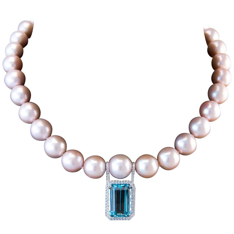 Necklace Aquamarine Pink Pearls white gold Necklace