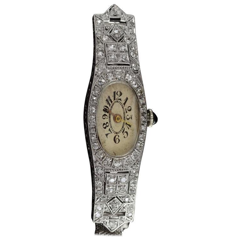 Old Mine Cut Diamond Filigree Vintage Gold Watch
