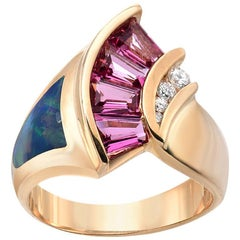 Estate Inlaid Opal Pink Tourmaline Diamond Gold Ring