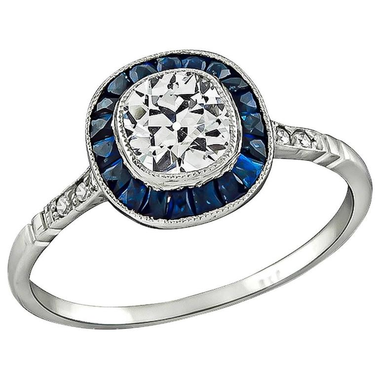 Charming 0 67ct Cushion Cut Diamond Sapphire Engagement Ring For Sale at 1stdibs
