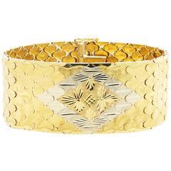 Ferrucci Link Wide Two-Color 18 Karat Gold Bracelet