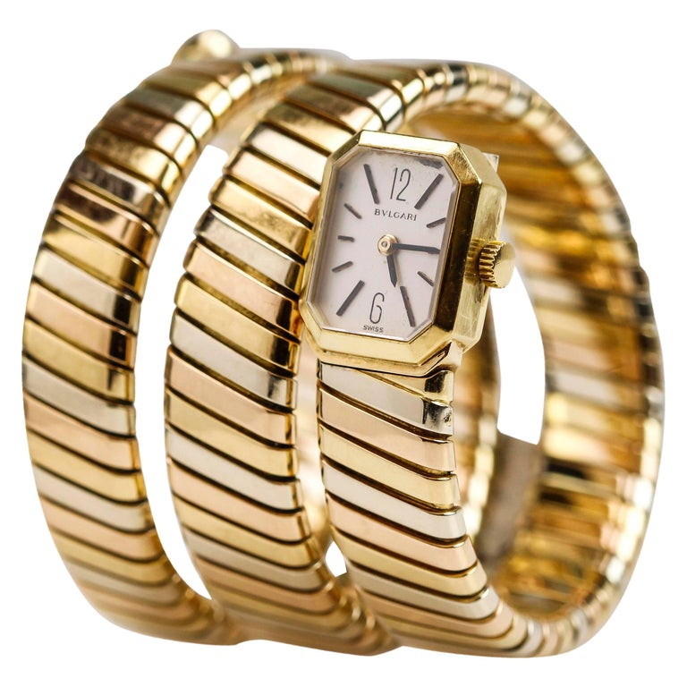 "Bvlgari ""Bulgari"" Tricolor 18k Gold Lady's Tubogas Serpenti Watch For Sale"