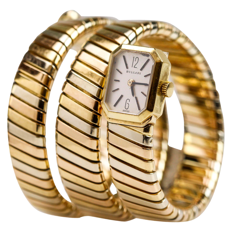 "Bvlgari ""Bulgari"" Tricolor 18k Gold Lady's Tubogas Serpenti Watch"