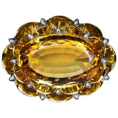 Very Rare Art Deco 20 Carat Russian Imperial Topaz Brooch Pendant