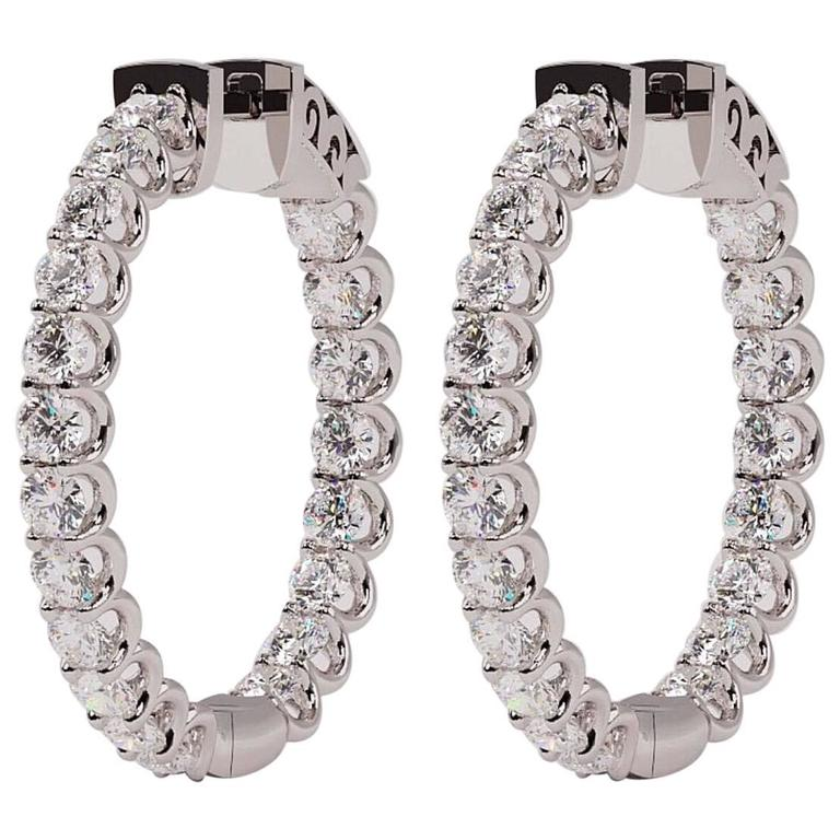 U Prong Inside Out Diamond Gold Hoops Earrings