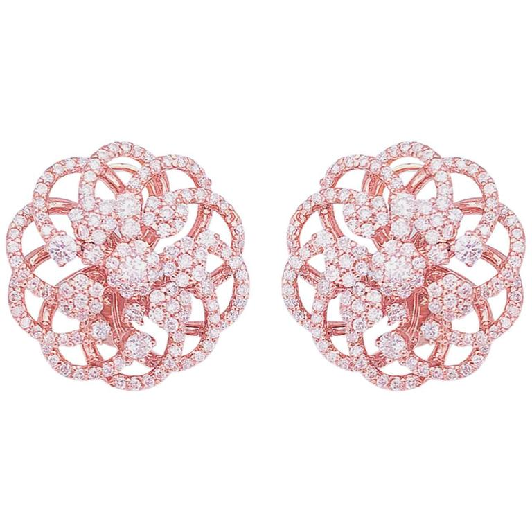 Rose Gold Micro Pave Floral Earrings  1