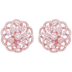 Rose Gold Micro Pave Floral Earrings