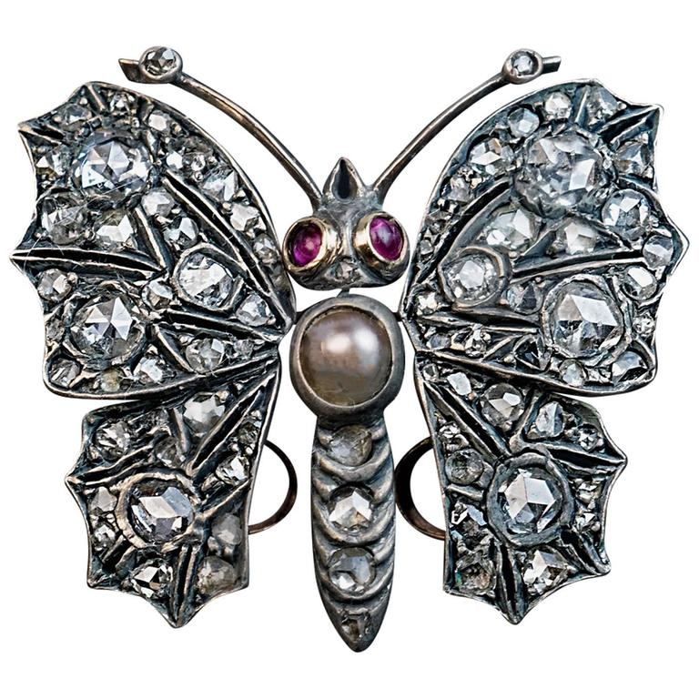 Antique Victorian 19th Century Diamond Butterfly Brooch Pendant For Sale