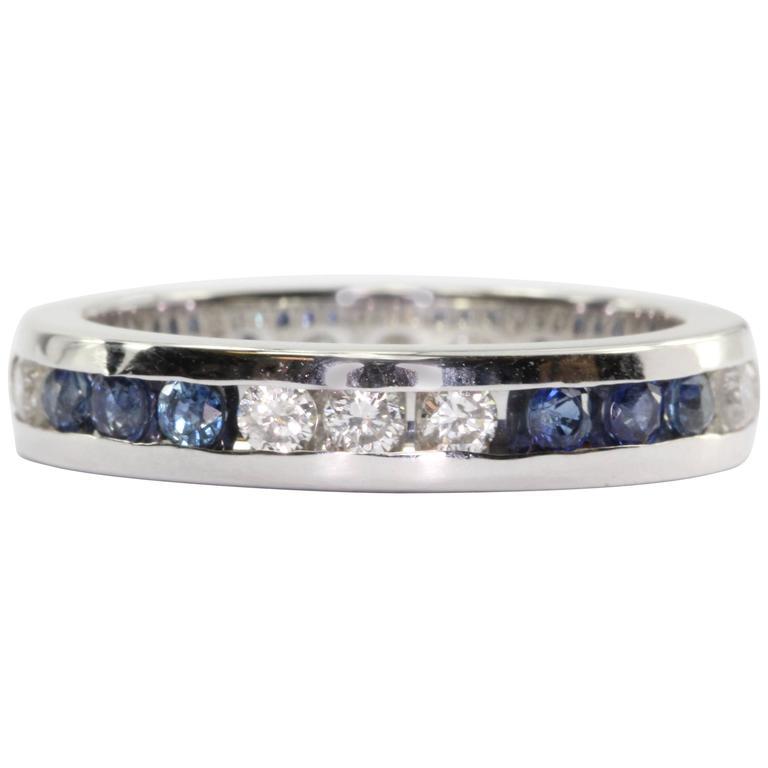 14K White Gold Diamond & Sapphire Eternity Band