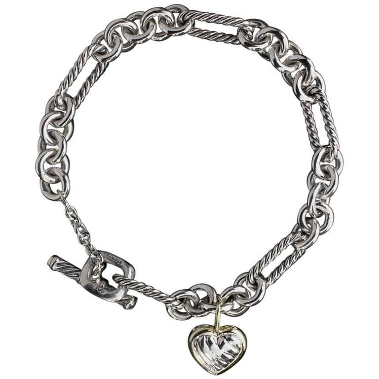 David Yurman Silver Gold Cable Collectibles Heart Charm Figaro Bracelet For