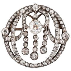Victorian English diamond set brooch pendant