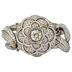 Spectacular Platinum and Gold Pave Diamond Flower Bracelet