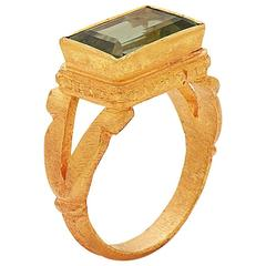 Green Tourmaline Ring in 22 Karat Gold