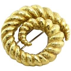 David Webb Gold Swirl Brooch