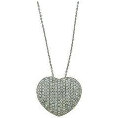 Pave Diamond Heart Pendant 18K Gold Heart-Shaped Pendant with Chain / Necklace