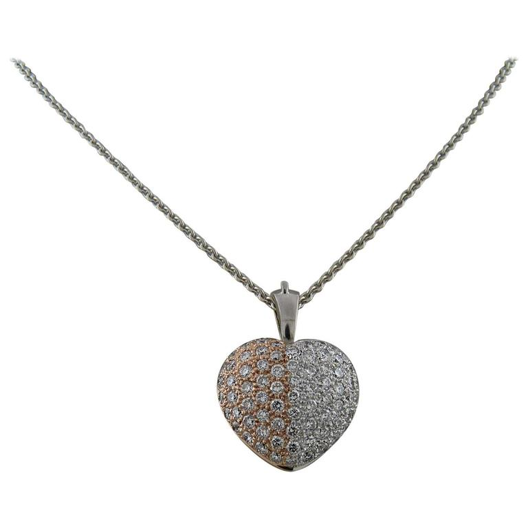 Diamond and 18K White & Rose Gold Heart Shape Pendant with a Chain