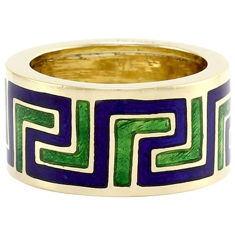Tiffany & Co. Gold with Blue & Green Enamel Greek Pattern Ring 1