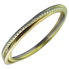 Tri-Colored Gold Diamond Bangle