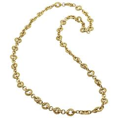 David Webb Gold Beaded Link Chain Necklace