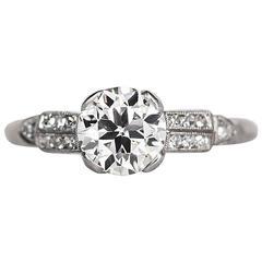 1920s Art Deco Platinum .96 carat Old European Diamond Ring