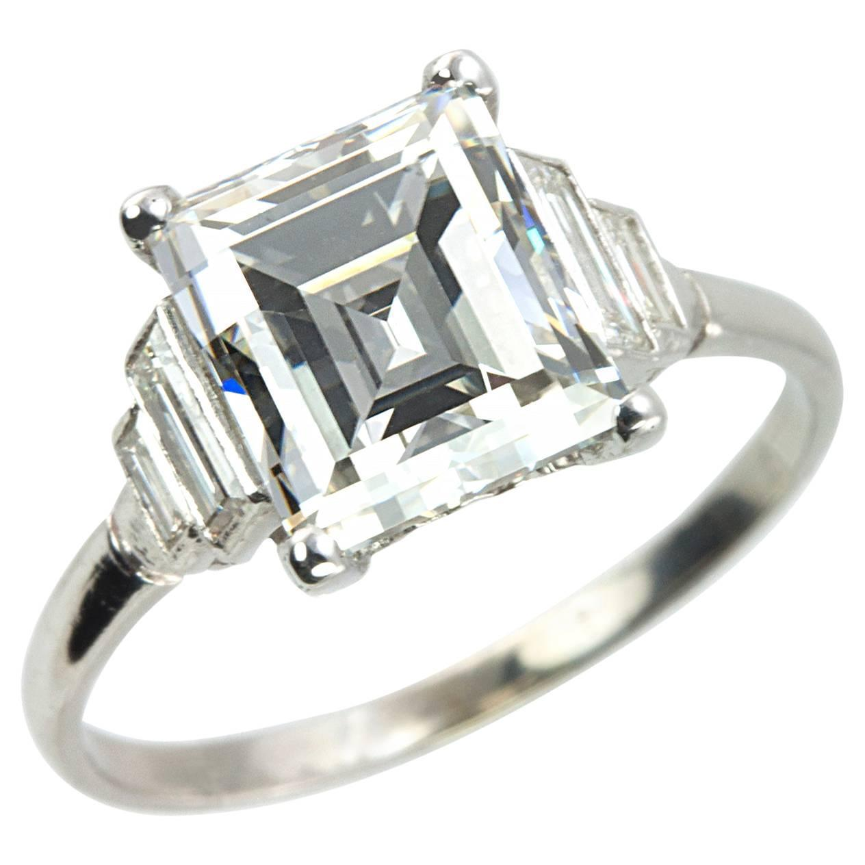 Art Deco 2 90 Carat Emerald Cut Diamond Engagement Ring For Sale at 1stdibs