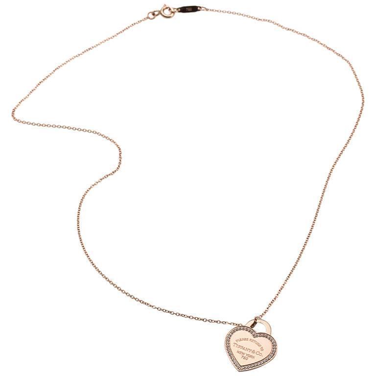 Tiffany & Co. Return to Tiffany Micro-Pavé Diamonds Heart Tag Necklace 1
